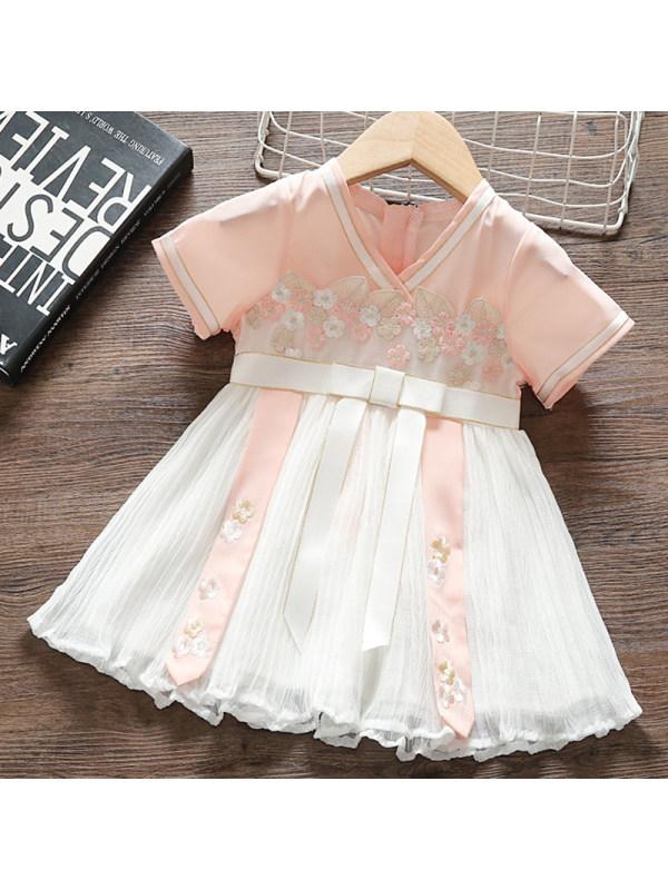 【12M-4Y】Girls Sweet Pink Applique Short Sleeve Dress