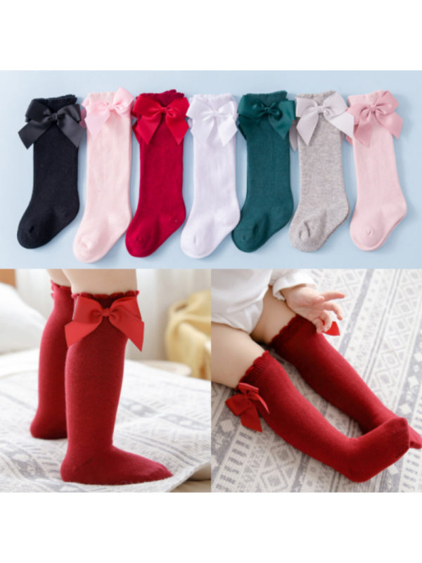 Solid Color Cute Sweet Girls Bow Socks