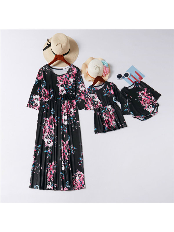 Round Neck Sleeves Floral Print Mother Girl Matching Dress