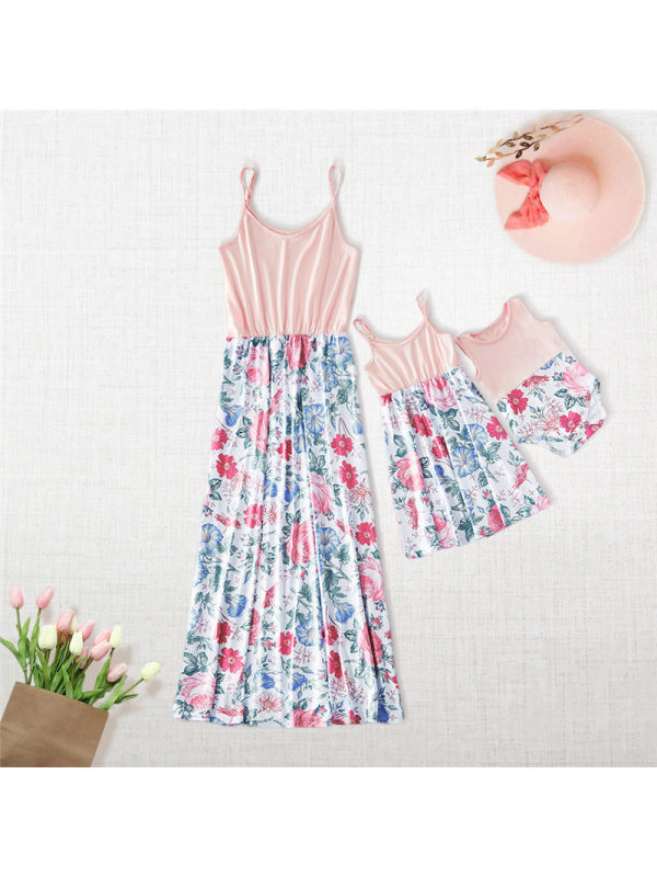 Round Neck Sleeveless Floral Print Suspenders Mother Girl Matching Dress