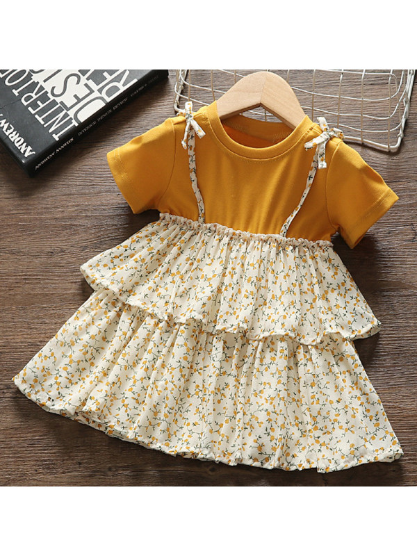【12M-4Y】Girl Sweet Yellow Floral Short Sleeve Dress