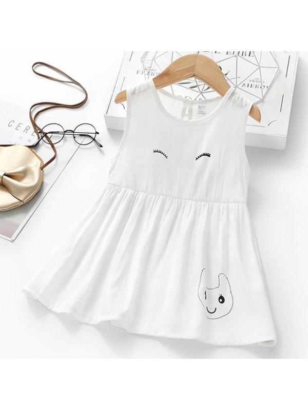 【18M-7Y】Girl Sweet White Cartoon Print Sleeveless Dress