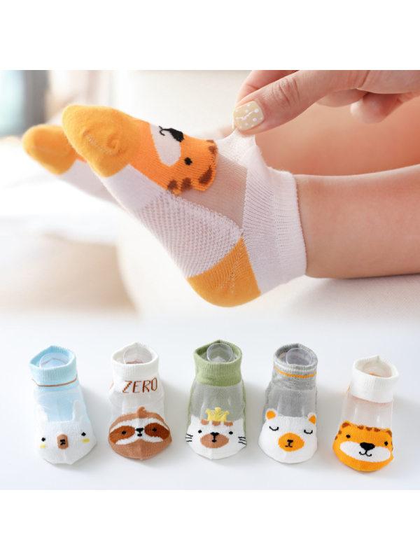 Summer Thin Cute Cartoon Glass Silk Animal Socks