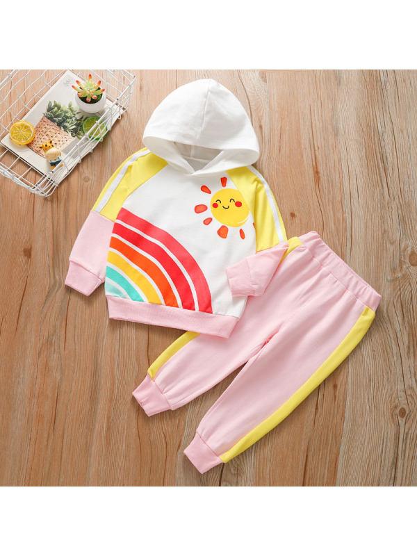 【18M-7Y】Girls Hooded Sweatshirt Trousers Sports Suit