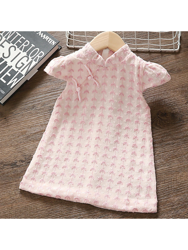 【12M-5Y】Girl Sweet Pink Chiffon Embroidered Short Sleeve Dress