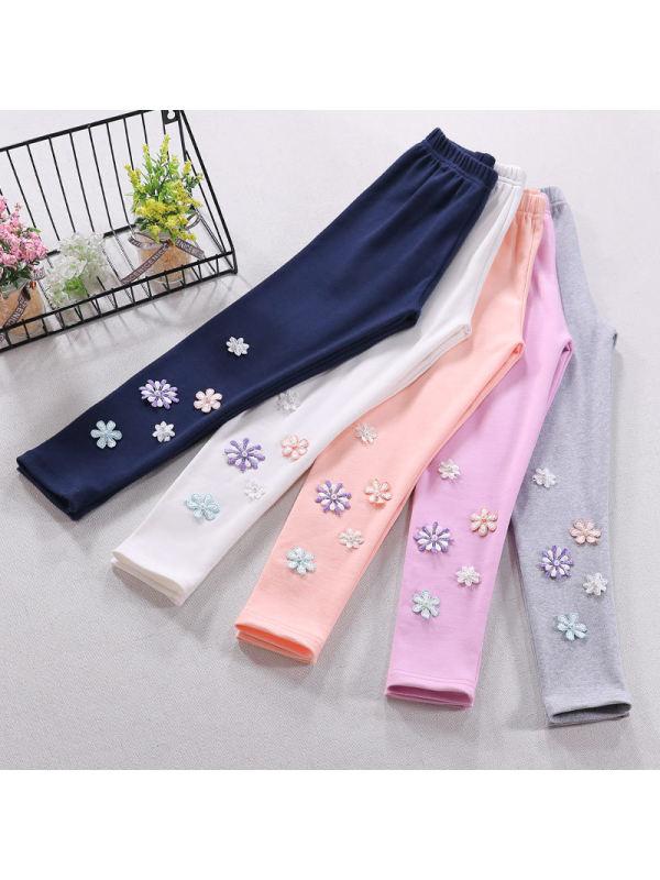 【3Y-11Y】Girls Thin Cotton LeggingsGirls Solid Color Cotton Stretch Leggings