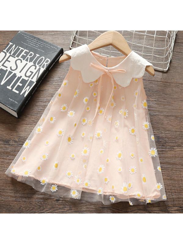 【12M-4Y】Girl Sweet Floral Mesh Sleeveless Dress