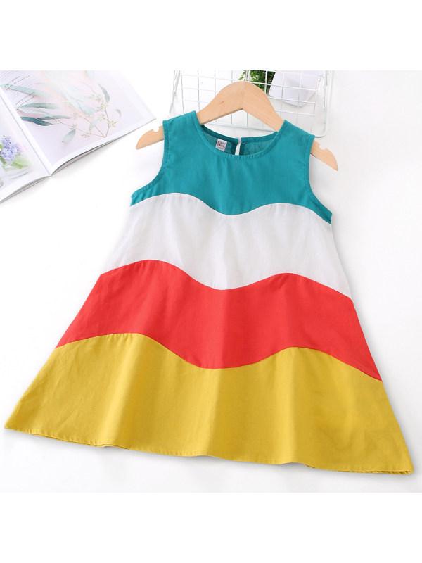 【18M-7Y】Girls Color Stiching Sleeveless Dress