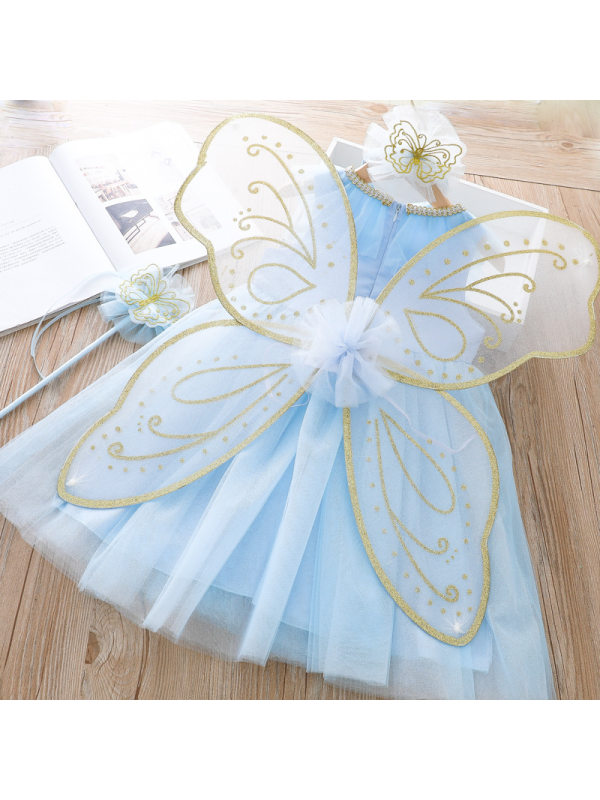 【18M-11Y】Girls Butterfly Wing Decorative Skirt Sequined Princess Gauze Dress - 33123