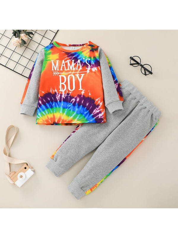 【12M-5Y】Boys Contrast Stitching Tie-Dye Pullover and Trousers Two-Piece Suit