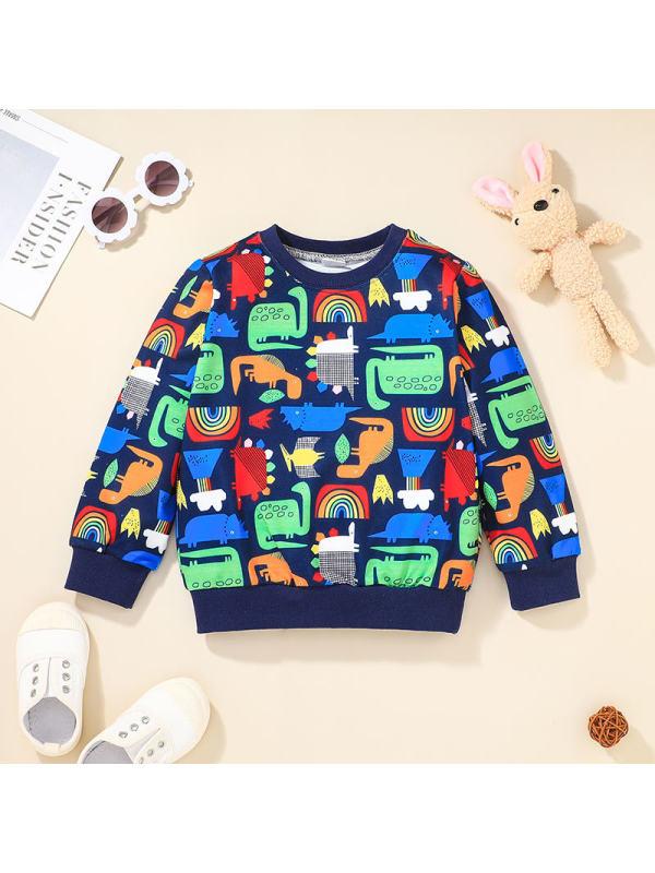 【18M-5Y】Boys And Kids Cartoon Print Long-sleeved Sweatershirt