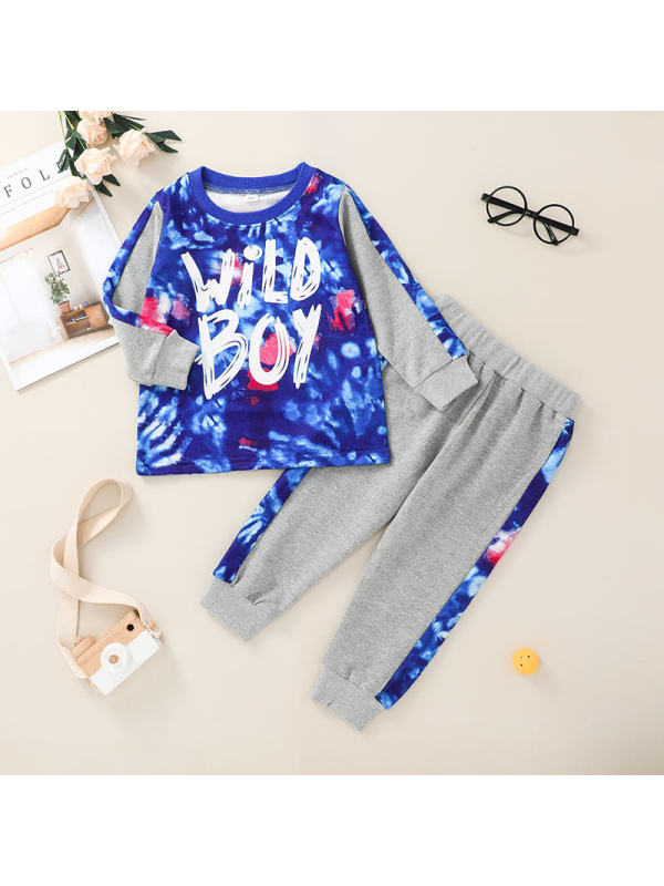 【12M-5Y】Boys Two-Piece Contrast Stitching and Letter Printing Suit