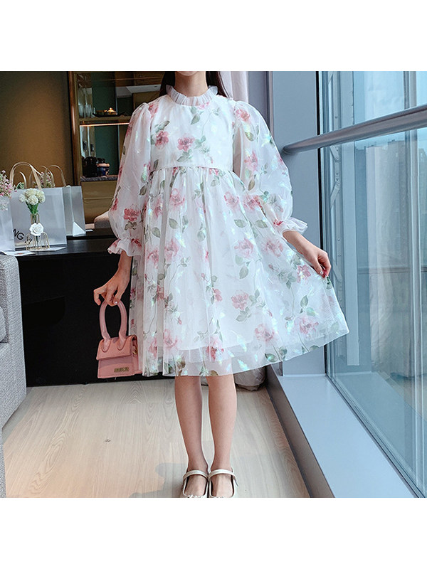 【3Y-13Y】Girls Chiffon Floral Dress