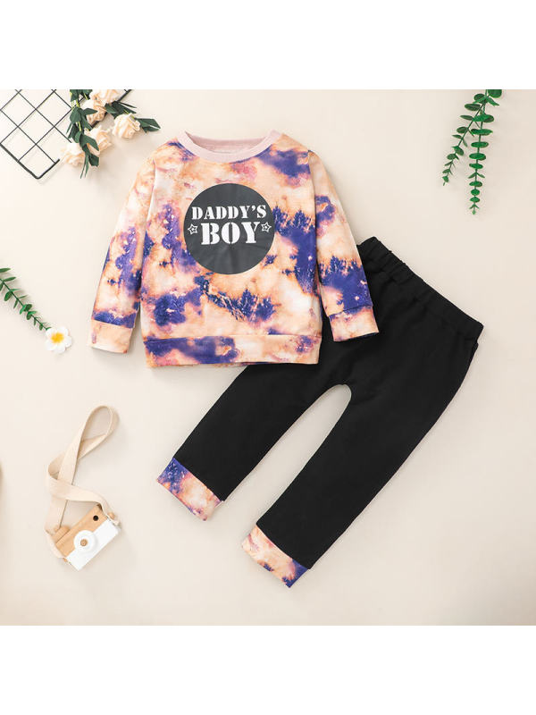【12M-5Y】Boys Tie-Dye Letter Printed Long Sleeve Sweatshirt and Trousers Two-Piece Set