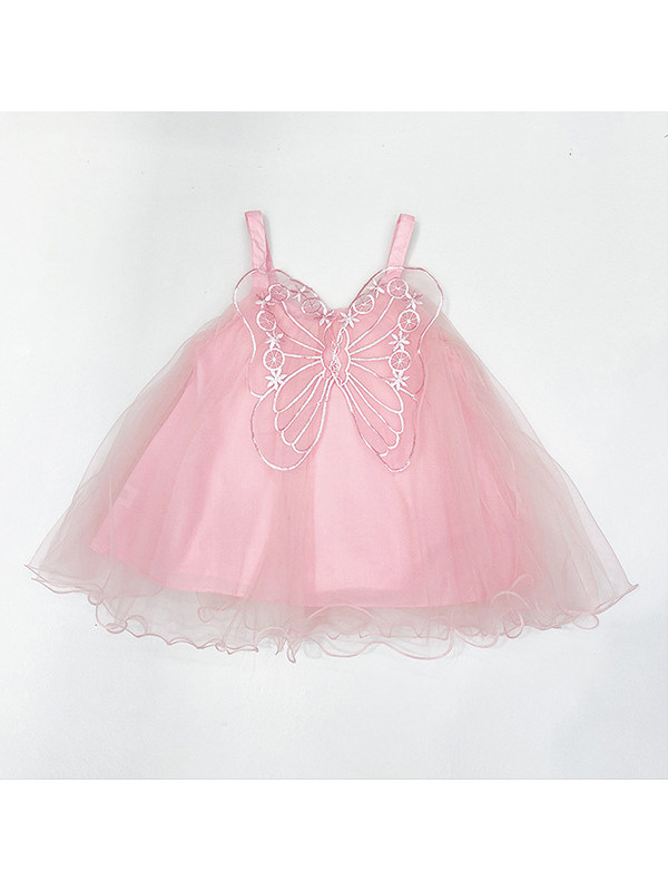 【18M-7Y】Girls' Three-dimensional Butterfly Puffy Suspender Skirt