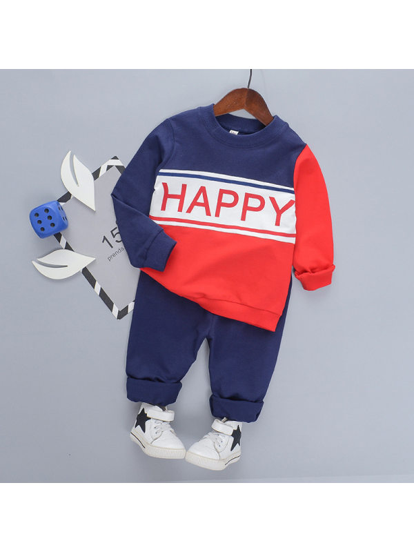 【18M-7Y】Boy Cartoon Pullover Red Letter Pants Suit