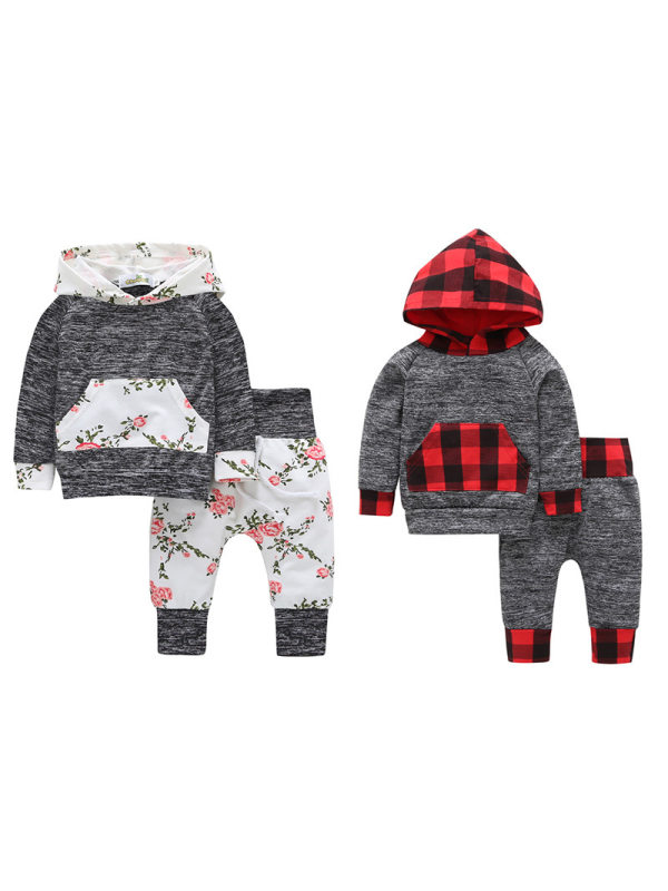 【3M-3Y】Boys and Babies Contrast Stitching Hooded Two-Piece Suit