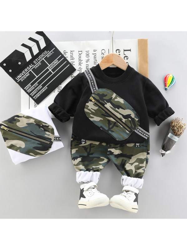 【12M-9Y】Boys Camouflaged Bag Webbing Long-Sleeved Trousers Suit