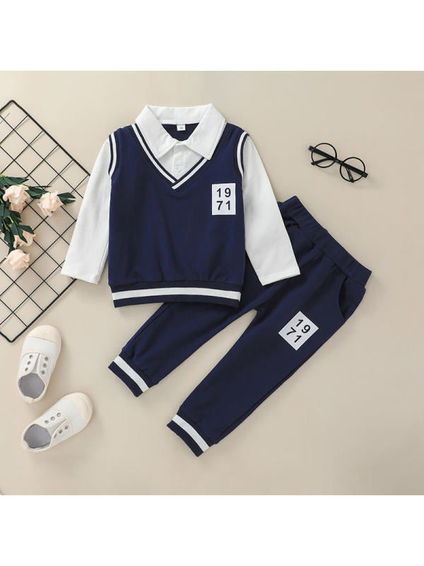 【18M-7Y】Boys College Style Long Sleeve Two-Piece Suit