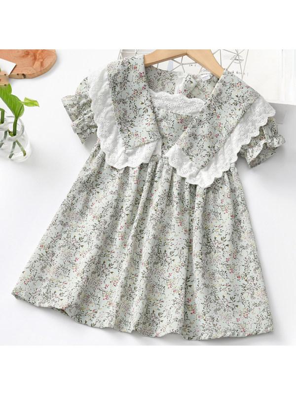 【18M-7Y】Girl Sweet Light Green Floral Short Sleeve Dress