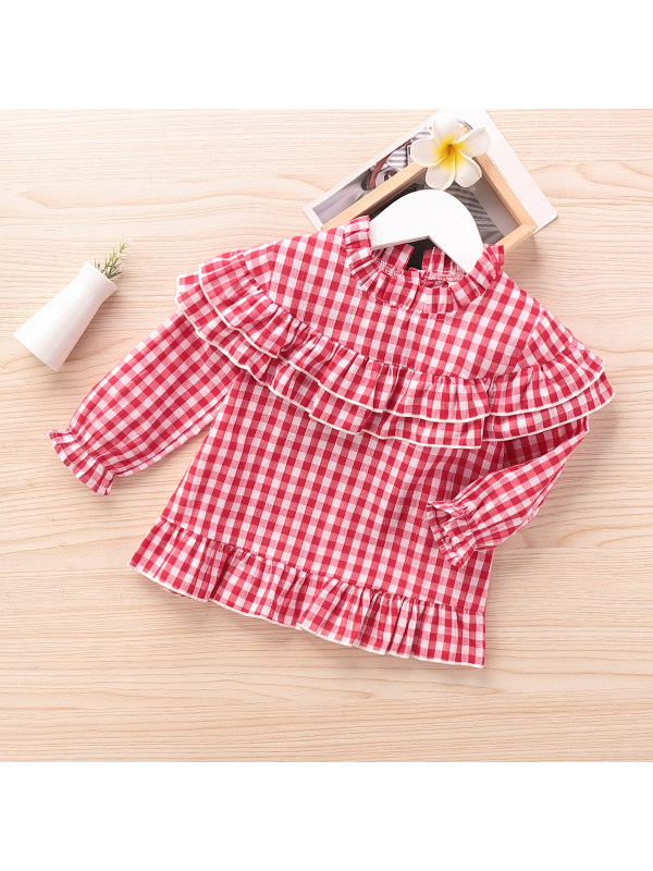 【18M-6Y】Girls Plaid High-neckline Long-sleeved Shirt