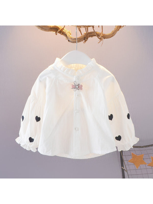 【12M-7Y】Girls' Loose Long-sleeved Embroidered Shirt