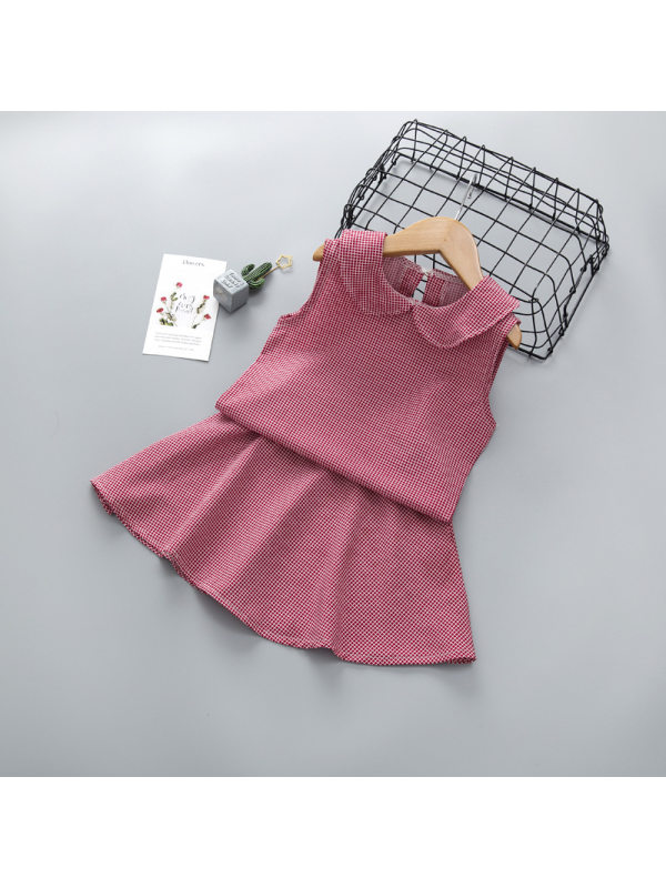 【2Y-7Y】Girls Chiffon Sleeveless Doll Collar Top Plaid Skirt Set