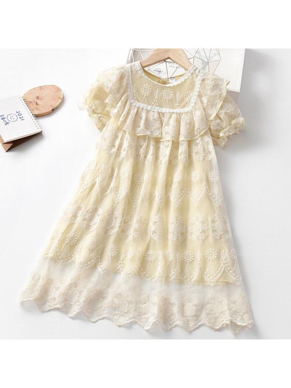 【3Y-11Y】Girl Sweet Lace Short Sleeve Dress