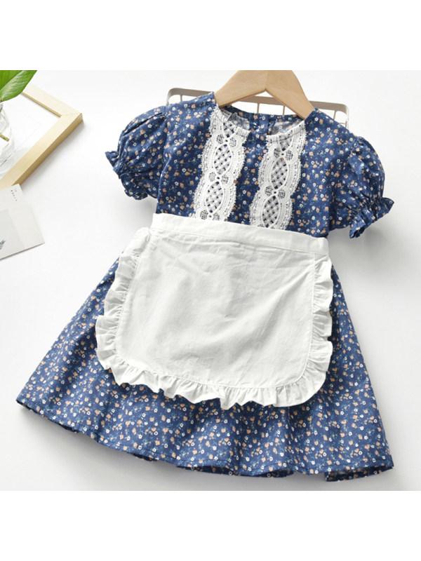 【18M-7Y】Girl Sweet Blue Floral Short Sleeve Dress