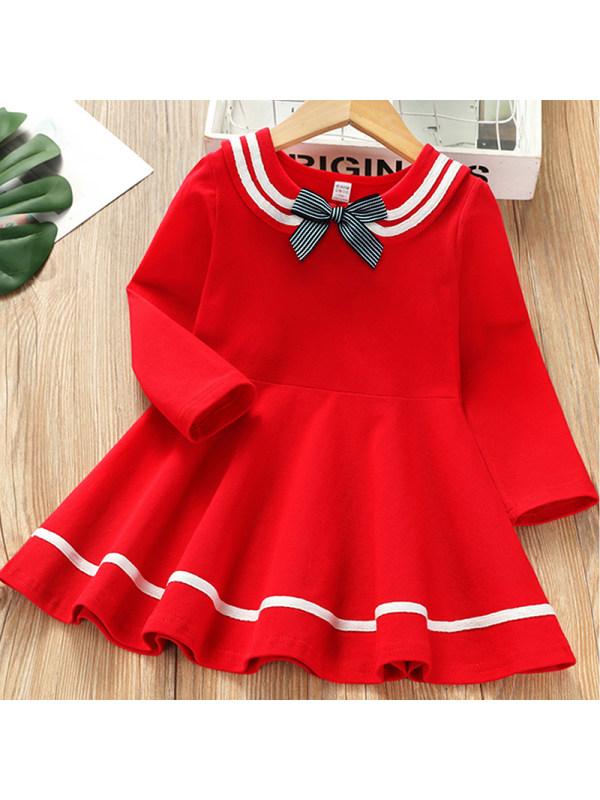 【2Y-9Y】Girl Sweet Red Bow Long Sleeve Dress
