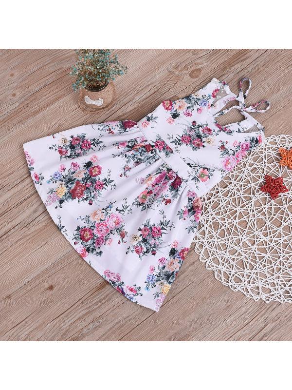 【18M-7Y】Girls' Lace Floral Sling Halter Vest Dress