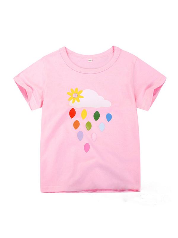 【12M-7Y】Girls Cotton Cartoon Print Short-sleeved T-shirt