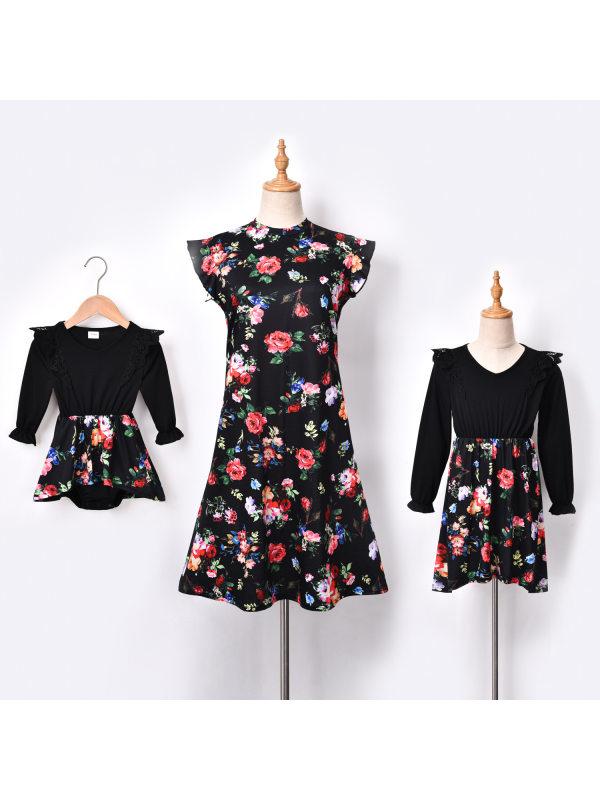 Round Neck Flower Print Mom Girl Matching Dress