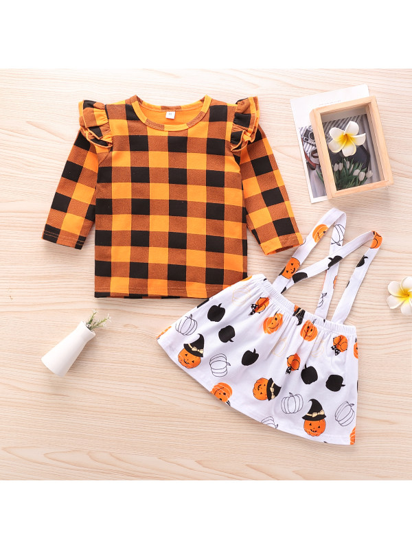 【18M-6Y】Girls Plaid Top Suspender Skirt Two-piece Suit