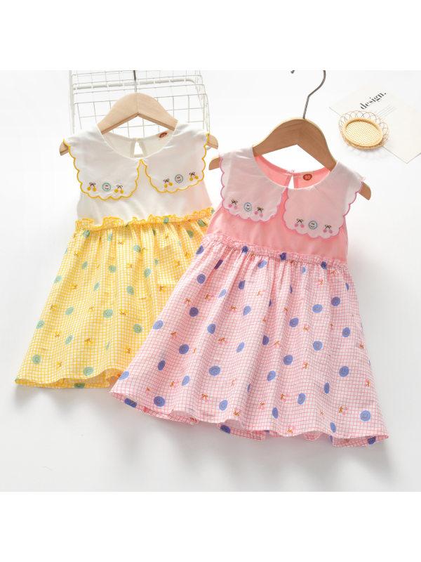 【18M-9Y】Girls Color Stiching Sleeveless Dress