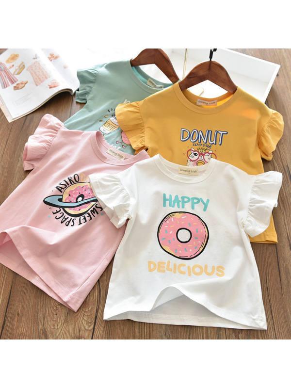 【12M-7Y】Girls Lace Sleeve Cartoon Pattern T-shirt
