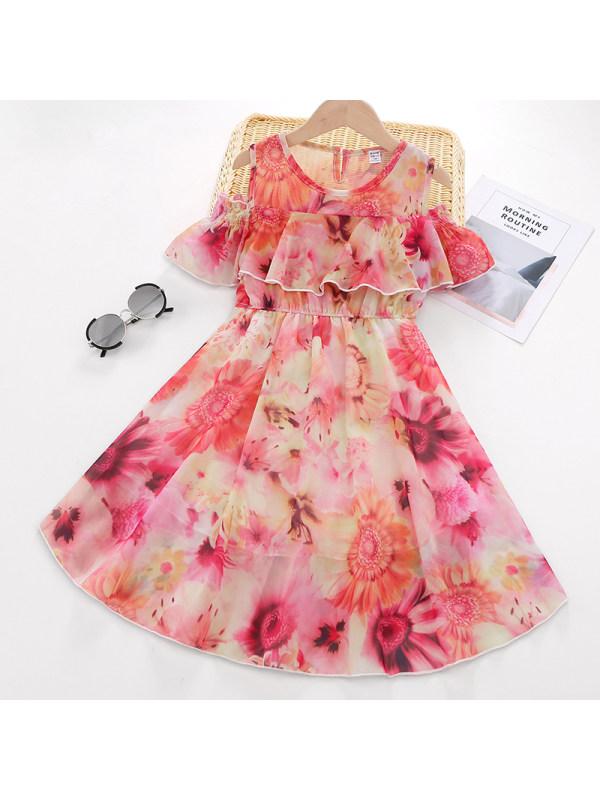 【3Y-9Y】Girl Sweet Red Chiffon Off The Shoulder Dress