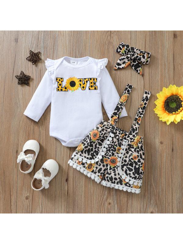 【6M-4Y】Girls Sunflower Pattern Long Sleeve Romper Leopard Print Strap Shorts Headband Set