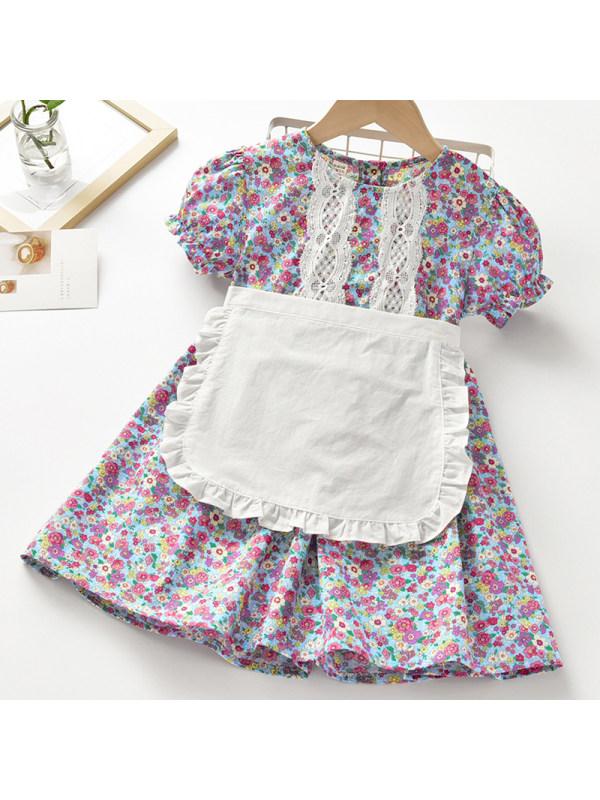 【18M-7Y】Girl Sweet Purple Floral Short Sleeve Dress