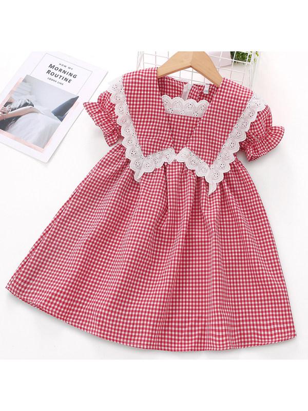 【2Y-9Y】Girl Sweet Red Plaid Short Sleeve Dress