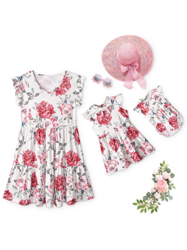 Round Neck Sleeveless Flower Print Mom Girl Matching Dress