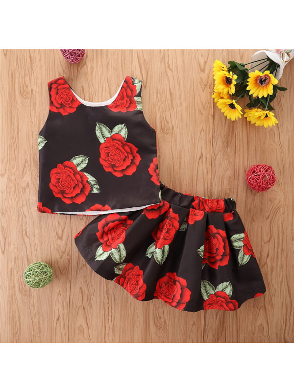【18M-7Y】Girl's Rose Top And Skirt Two-piece Suit