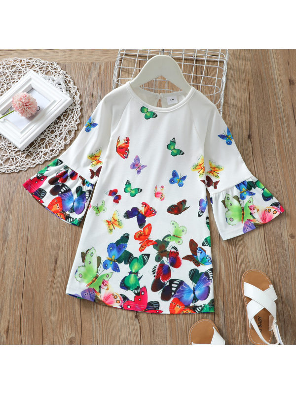【18M-7Y】Girls Round Neck Flared Sleeves Full-print Butterfly Dress