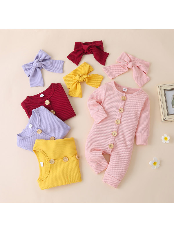 【3M-24M】Baby Solid Color Long-sleeved Romper