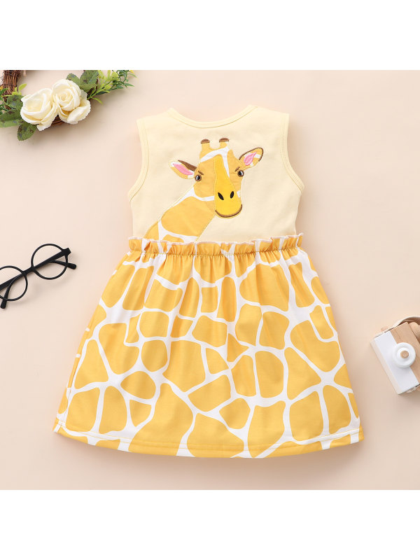 【18M-7Y】Girls Sleeveless Giraffe Print Dress