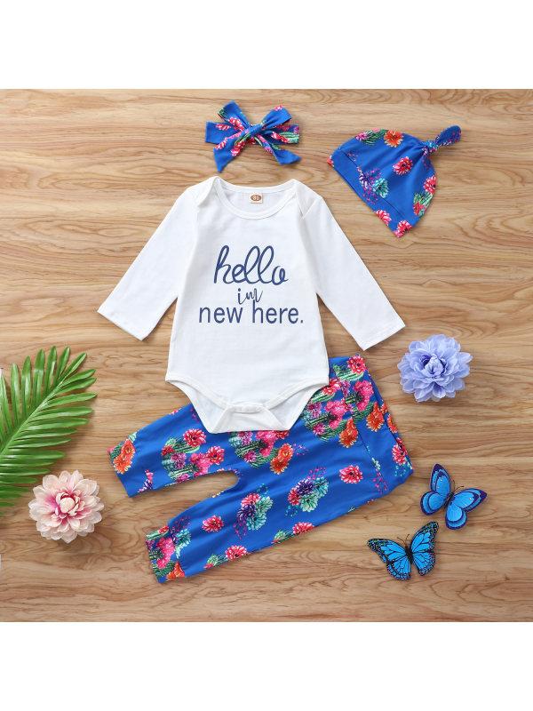 【6M-3Y】Baby Long-sleeved Floral Romper Suit