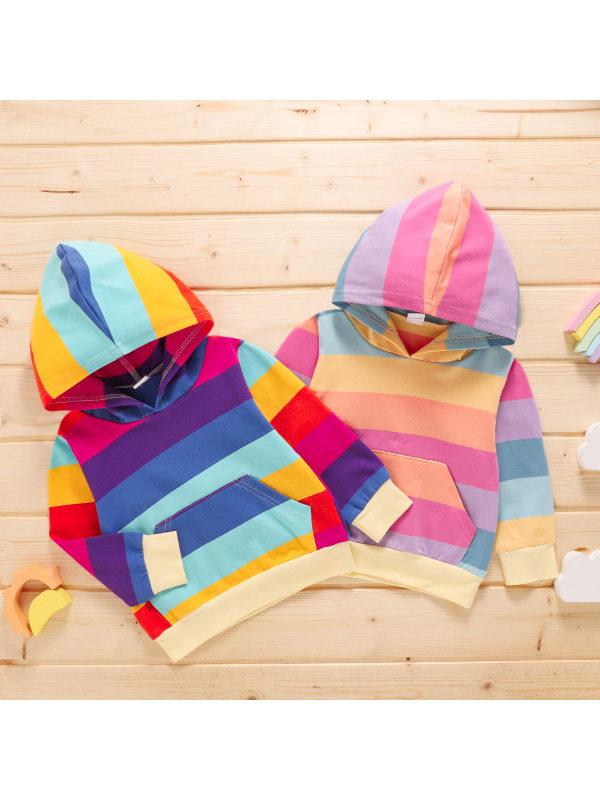 【3M-3Y】Girls Color Matching Long-Sleeved Hooded Sweatshirt
