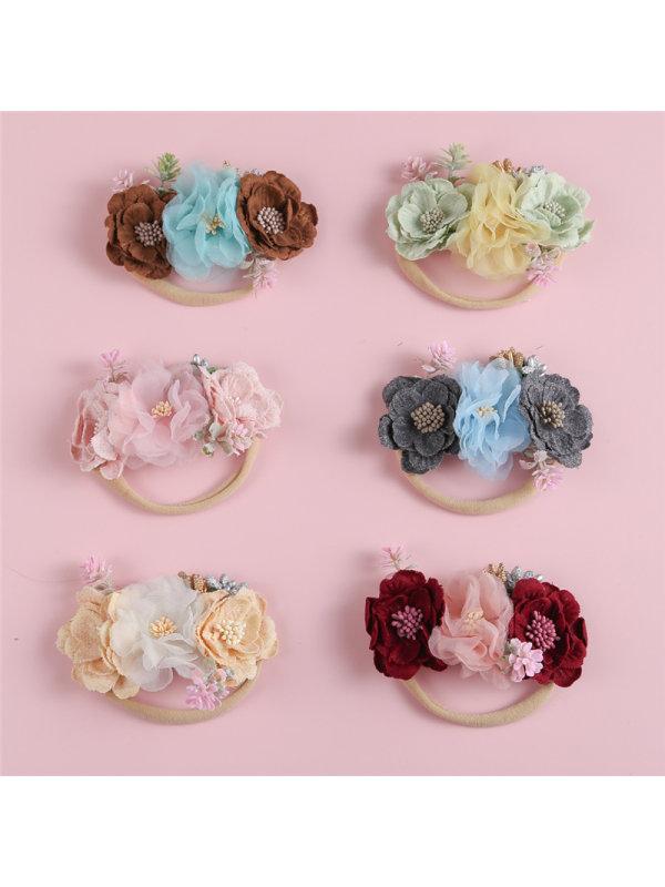 Net Gauze Fabric Splicing Combination Head Flower Thin Hair Band
