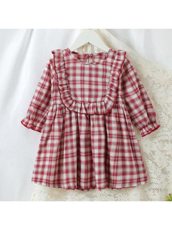 【6M-2.5Y】Girls Cute Plaid Red Dress