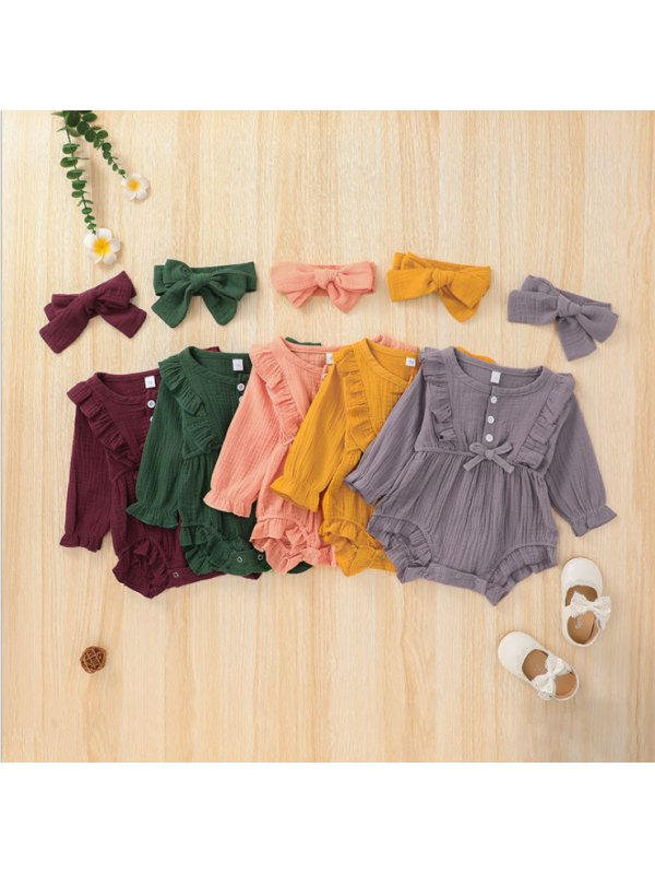 【6M-3Y】Baby Solid Color Long-sleeved One-piece Romper Romper